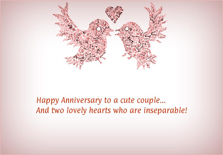 Belated Wedding Gift Message : Happy Anniversary to a cute couple...And two lovely hearts who are ...