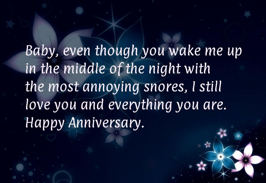 Funny anniversary sayings for him