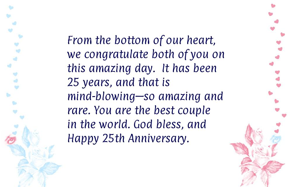 Wishes for 25th wedding anniversary