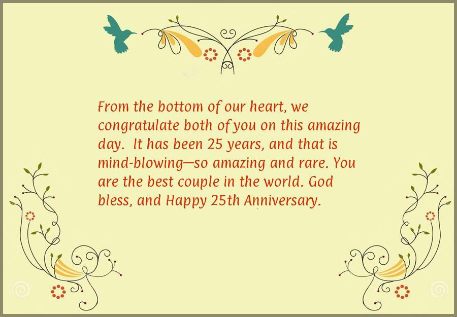25th wedding anniversary card