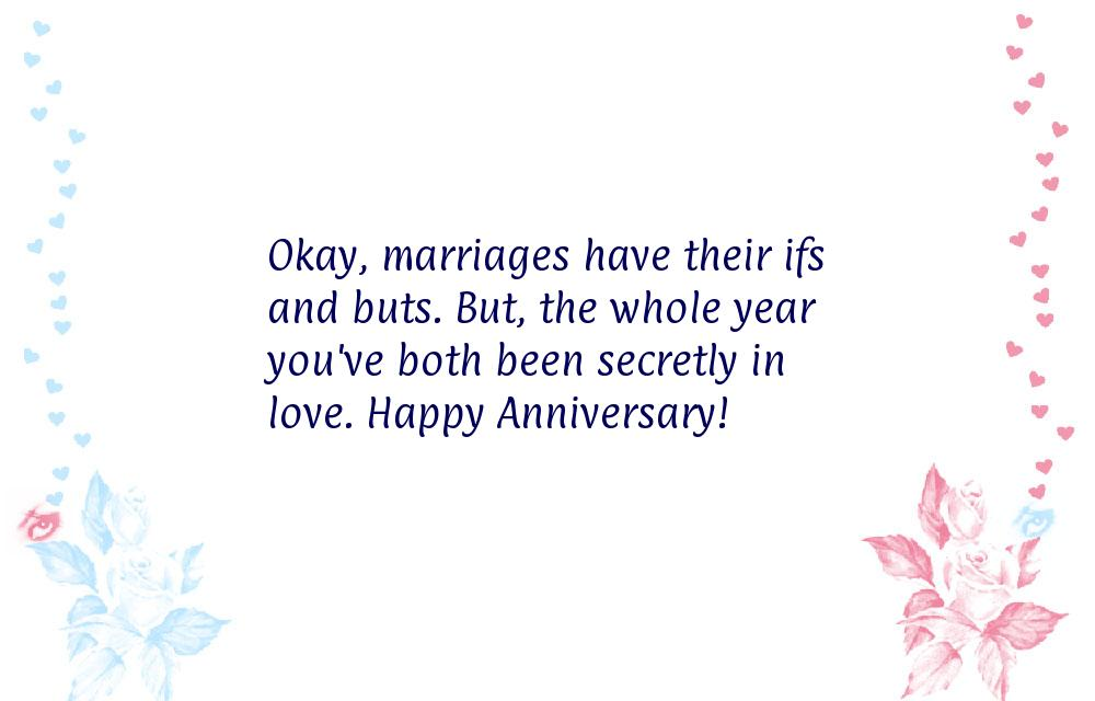 Okay, marriages have their ifs and buts. But, the whole year you've ...